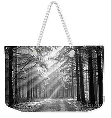 Conifer Forest In Fog Weekender Tote Bag