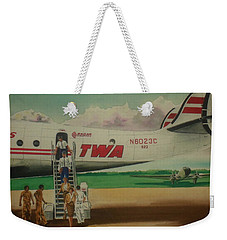 Connie Crew Deplaning At Columbus Weekender Tote Bag by Frank Hunter