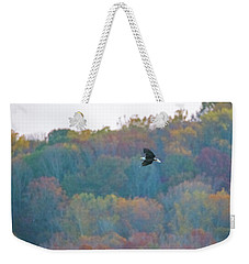 Weekender Tote Bag featuring the photograph Conowingo Colors With Bald Eagle by Jeff at JSJ Photography