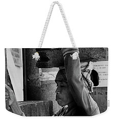 Weekender Tote Bag featuring the photograph Construction Labourer - Bw by Werner Padarin