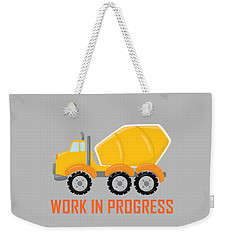 Construction Zone - Concrete Truck Work In Progress Gifts - Grey Background Weekender Tote Bag