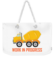 Construction Zone - Concrete Truck Work In Progress Gifts - White Background Weekender Tote Bag