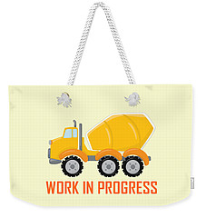 Construction Zone - Concrete Truck Work In Progress Gifts - Yellow Background Weekender Tote Bag