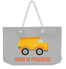 Construction Zone - Dump Truck Work In Progress Gifts - Grey Background Weekender Tote Bag