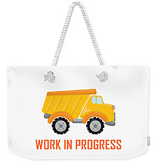 Construction Zone - Dump Truck Work In Progress Gifts - White Background Weekender Tote Bag