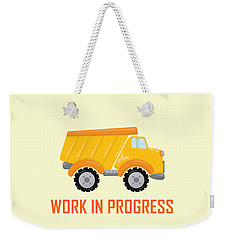 Construction Zone - Dump Truck Work In Progress Gifts - Yellow Background Weekender Tote Bag