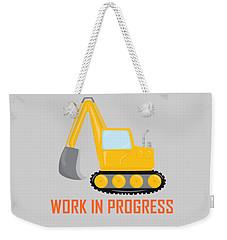 Construction Zone - Excavator Work In Progress Gifts - Grey Background Weekender Tote Bag