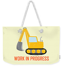 Construction Zone - Excavator Work In Progress Gifts - Yellow Background Weekender Tote Bag