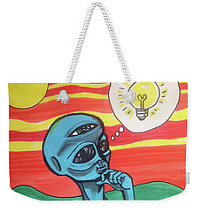 Weekender Tote Bag featuring the painting Contemplative Alien by Similar Alien