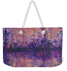Contemporary Nature Painting Tropical Lake Sunset Weekender Tote Bag
