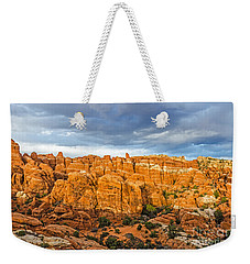 Contrasts In Arches National Park Weekender Tote Bag by Sue Smith