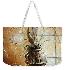 Contre Jour. White Tulip In A Vase.oil Painting On Canvas Weekender Tote Bag