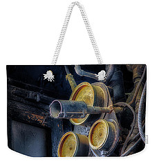 Weekender Tote Bag featuring the photograph Controls Of A Steam Locomotive by James Barber