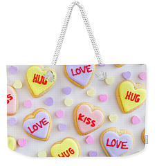 Weekender Tote Bag featuring the photograph Conversation Heart Cookie Love by Teri Virbickis
