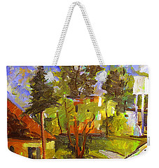 Weekender Tote Bag featuring the painting Converse Corner Plein Air Framed by Charlie Spear
