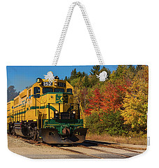 Weekender Tote Bag featuring the photograph Conway New Hampshire Scenic Railway by Brenda Jacobs