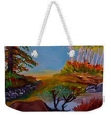 Weekender Tote Bag featuring the painting Cool Drink by Leslie Allen