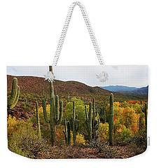 Coon Creek With Saguaros And Cottonwood, Ash, Sycamore Trees With Fall Colors Weekender Tote Bag by Tom Janca
