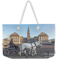 Weekender Tote Bag featuring the photograph Copenhagen Christianborg Palace Horse And Cart by Antony McAulay