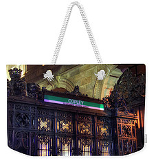 Weekender Tote Bag featuring the photograph Copley Square T Stop - Boston by Joann Vitali