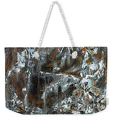 Weekender Tote Bag featuring the painting Copper And Mica by Joanne Smoley