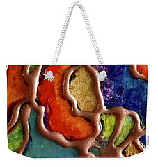 Weekender Tote Bag featuring the mixed media Copper Lines by Rae Chichilnitsky