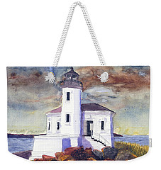 Weekender Tote Bag featuring the painting Coquille Lighthouse Watercolor by Chriss Pagani