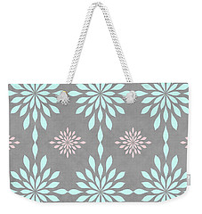 Coral And Turquoise Gray Weekender Tote Bag