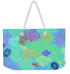 Coral Garden Bright Aqua Multi Weekender Tote Bag