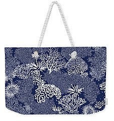 Coral Garden Indigo And White Weekender Tote Bag