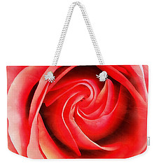 Weekender Tote Bag featuring the photograph Coral Rose - My Pleasure - Rose by Janine Riley