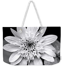 Weekender Tote Bag featuring the photograph Coreopsis Flower Black And White by Christina Rollo