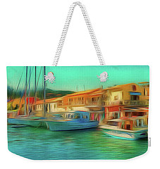 Weekender Tote Bag featuring the photograph Corfu 14 - Panorama Of Lakka On Paxos by Leigh Kemp