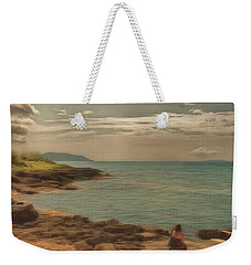 Weekender Tote Bag featuring the photograph Corfu 15  - My Lady On The Rocks by Leigh Kemp