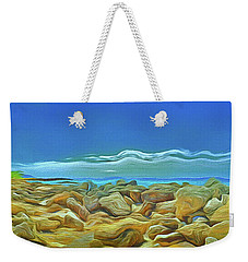 Weekender Tote Bag featuring the photograph Corfu 3 - Surreal Rocks by Leigh Kemp