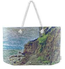 Weekender Tote Bag featuring the photograph Corfu 33 - Corfu Rocks by Leigh Kemp