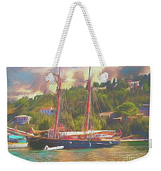 Weekender Tote Bag featuring the photograph Corfu 35 Tall Ship In Paxos by Leigh Kemp