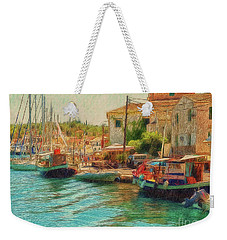 Weekender Tote Bag featuring the photograph Corfu 39 - Boats Paxos by Leigh Kemp
