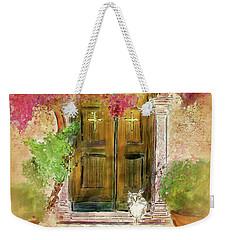 Weekender Tote Bag featuring the digital art Corfu Kitty by Lois Bryan