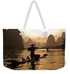 Cormorant Fisherman At Sunset Weekender Tote Bag