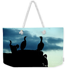 Cormorants In Silhouette Weekender Tote Bag by Victoria Harrington