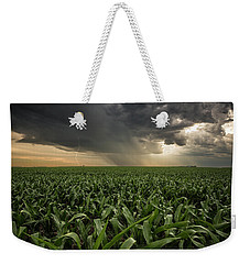 Weekender Tote Bag featuring the photograph Corn And Lightning by Aaron J Groen