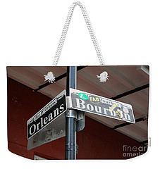 Corner Of Bourbon Street And Orleans Sign French Quarter New Orleans Weekender Tote Bag