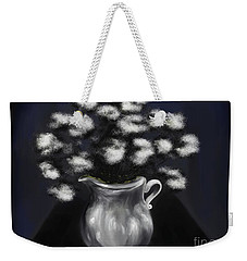 Corridors Of The Mind A Silver White Vase In A Blue Hallway Weekender Tote Bag
