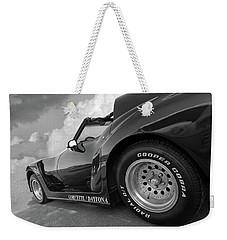 Corvette Daytona In Black And White Weekender Tote Bag by Gill Billington