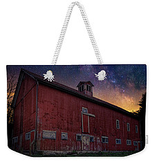 Weekender Tote Bag featuring the photograph Cosmic Barn Square by Bill Wakeley