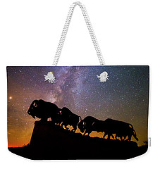 Weekender Tote Bag featuring the photograph Cosmic Caprock Bison by Stephen Stookey