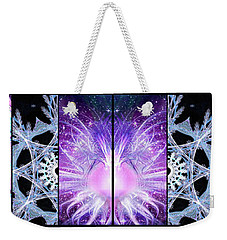 Weekender Tote Bag featuring the mixed media Cosmic Collage Mosaic Left Mirrored by Shawn Dall
