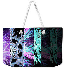 Weekender Tote Bag featuring the mixed media Cosmic Collage Mosaic Left Side Flipped by Shawn Dall