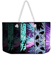 Weekender Tote Bag featuring the mixed media Cosmic Collage Mosaic Left Side by Shawn Dall